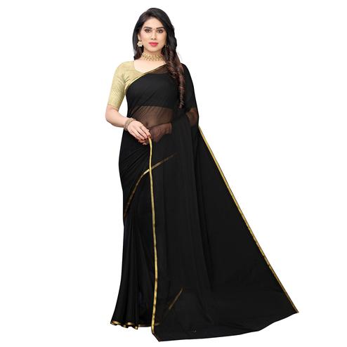 Lovely Black Colored Party Wear Chiffon Saree