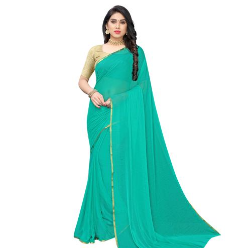 Majesty Turquoise Green Colored Party Wear Chiffon Saree