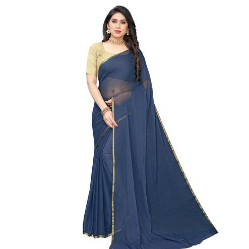 Impressive Grey Colored Party Wear Chiffon Saree
