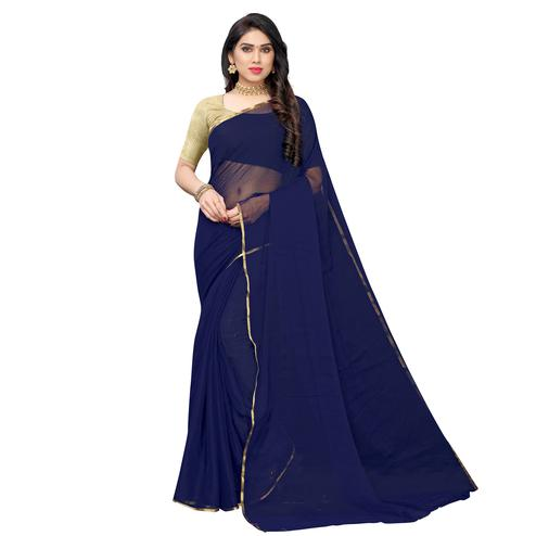 Mesmerising Navy Blue Colored Party Wear Chiffon Saree
