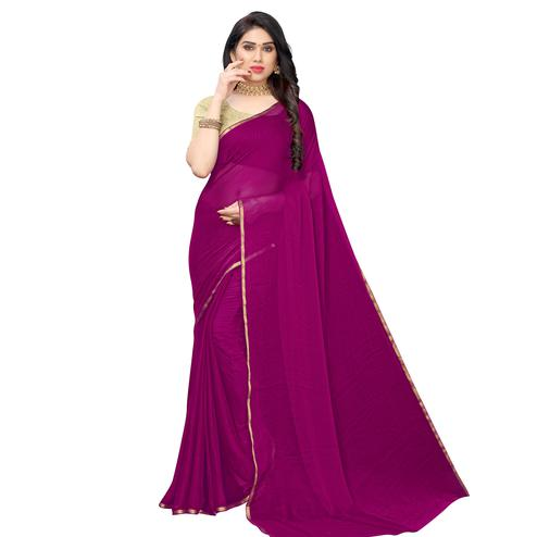 Pleasance Purple Colored Party Wear Chiffon Saree