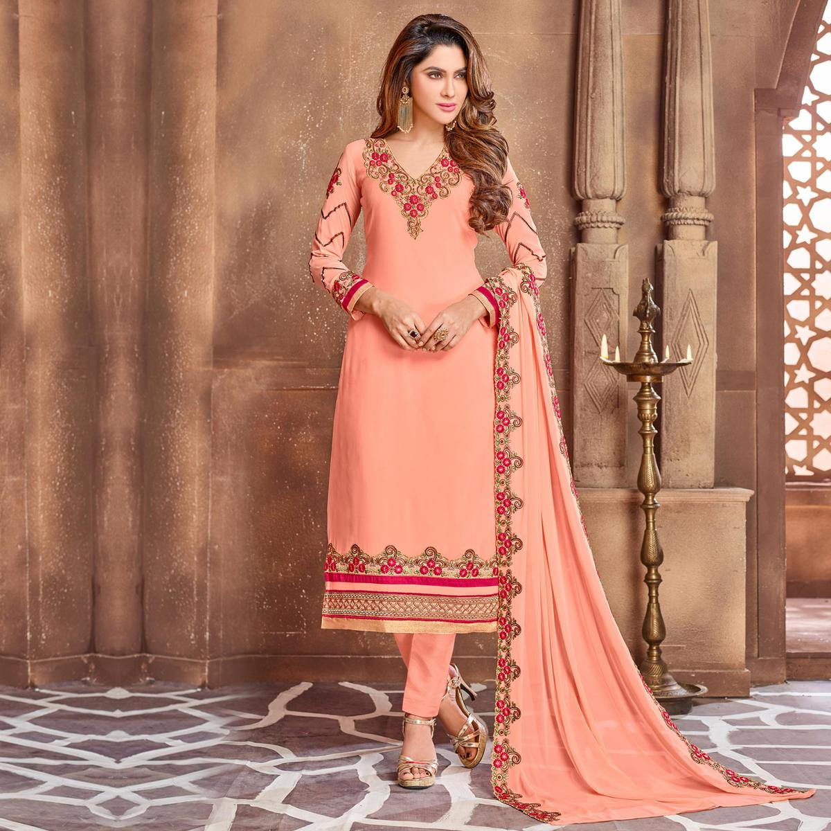 Peach Georgette Party Wear Suit