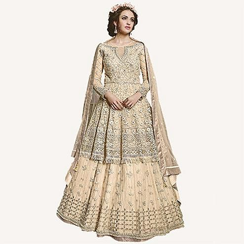 Beautiful Cream Designer Embroidered Net Lehenga Choli