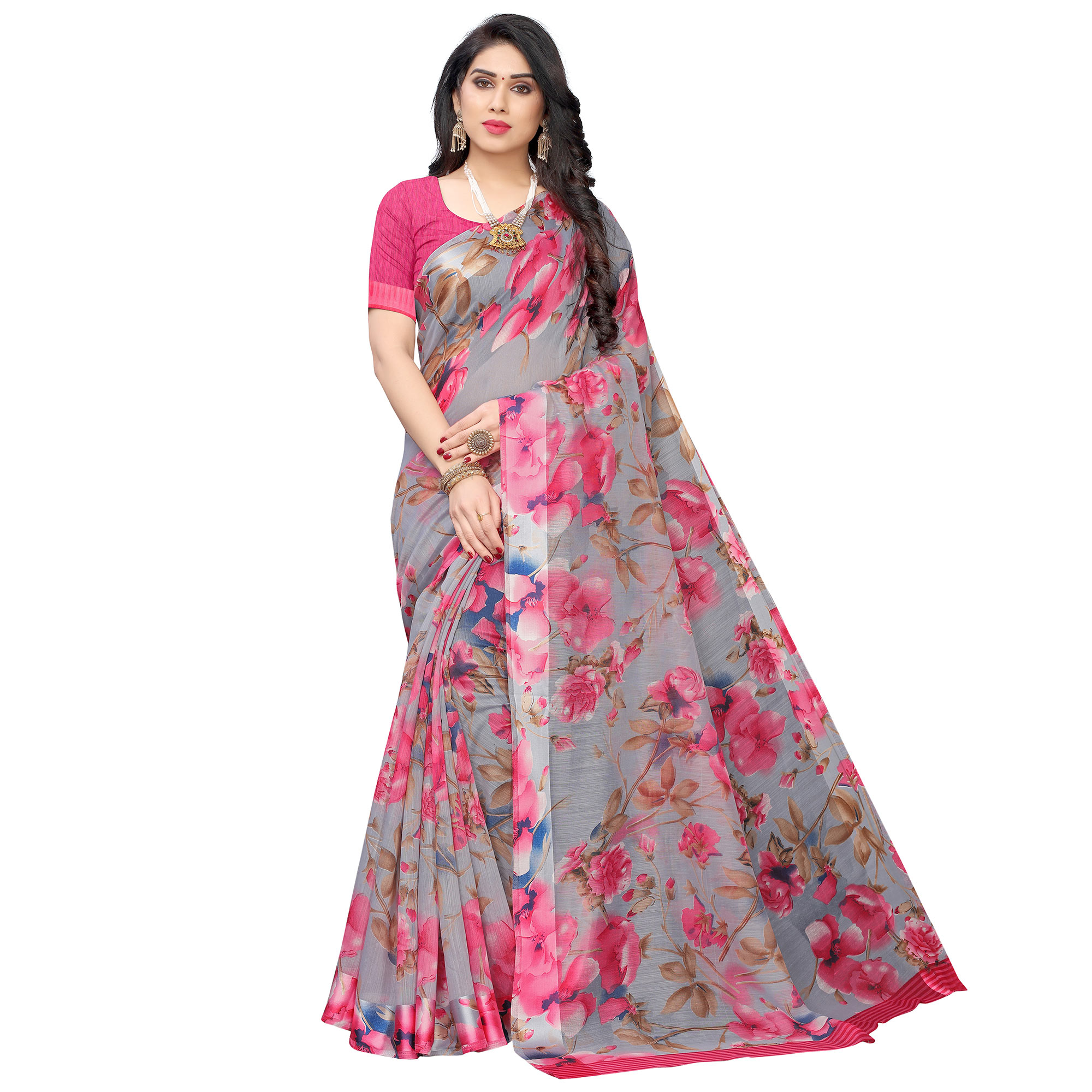 Surpassing Grey-Peach Colored Casual Wear Floral Printed Linen Saree