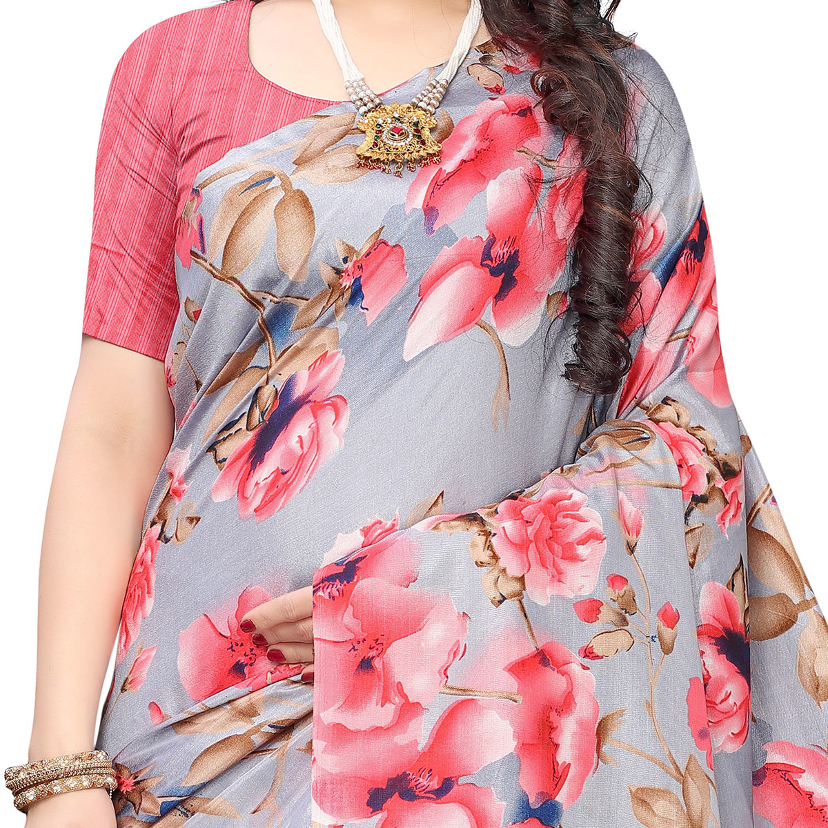 Groovy Grey-Red Colored Casual Wear Floral Printed Linen Saree