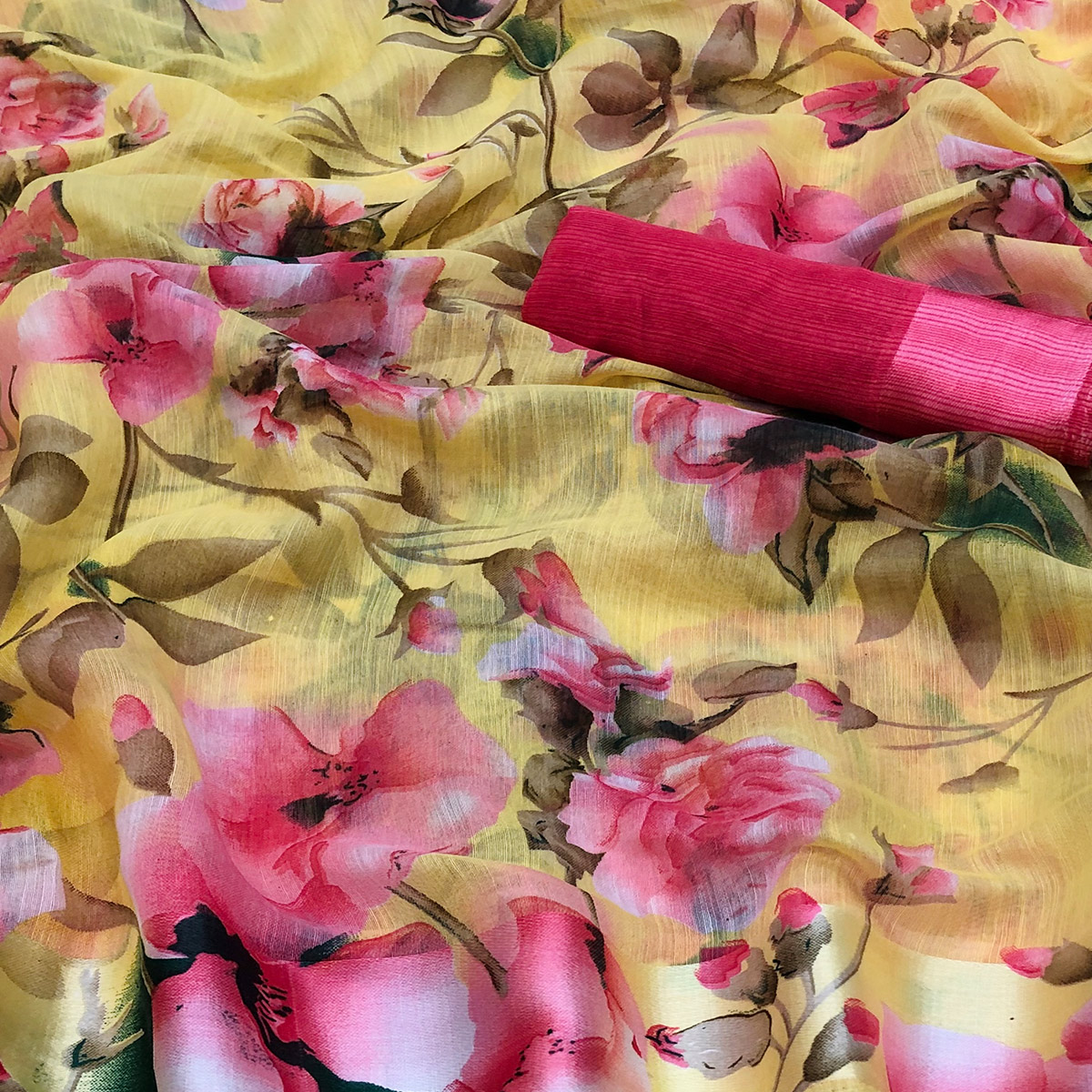 Adorning Yellow Colored Casual Wear Floral Printed Linen Saree