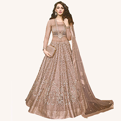 Dazzling Brown Designer Embroidered Net Lehenga Kameez