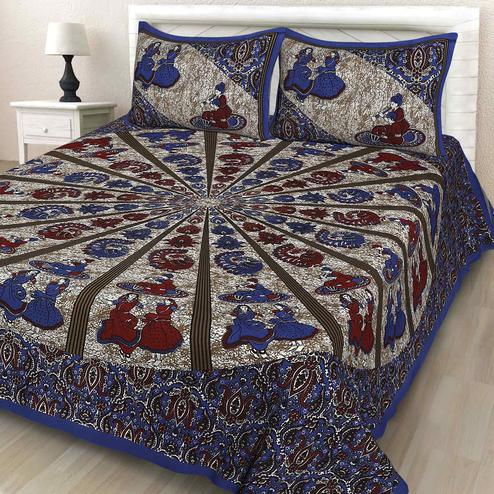 Zyla - Navy Blue Colored Printed Cotton Double Bedsheet With Pillow Cover