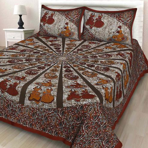 Zyla - Maroon Colored Printed Cotton Double Bedsheet With Pillow Cover