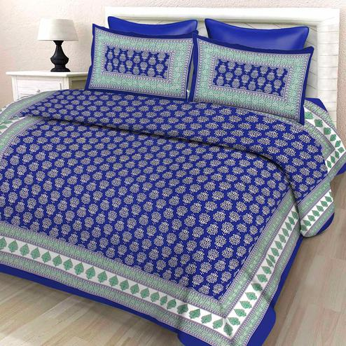 Zyla - Blue Colored Printed Cotton Double Bedsheet With Pillow Cover