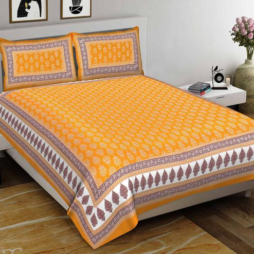 Zyla - Yellow Colored Printed Cotton Double Bedsheet With Pillow Cover