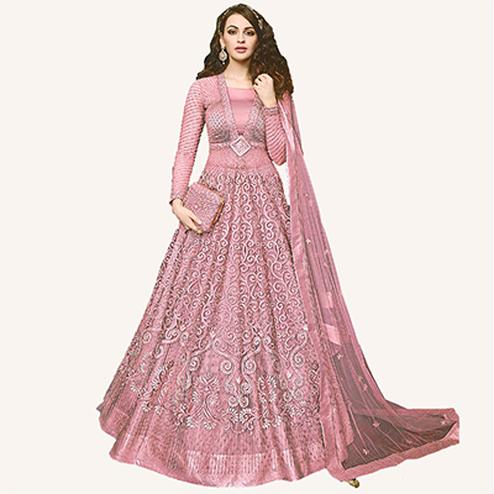 Lovely Pink Designer Embroidered Net Lehenga Kameez
