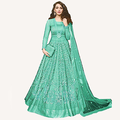 Charming Green Designer Embroidered Net Lehenga Kameez