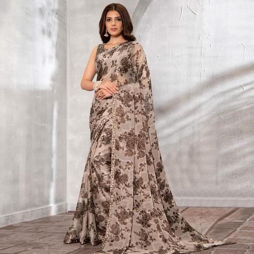 Amazing Light Brown Colored Partywear Floral Printed Chiffon Saree