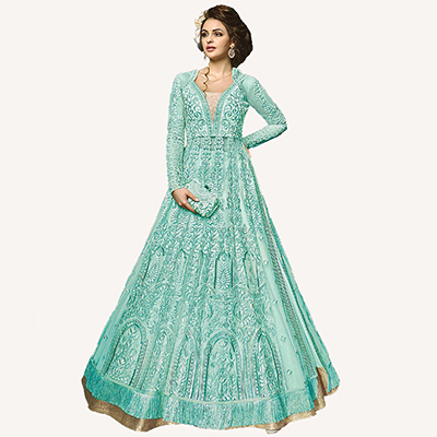 Desirable Sky Blue Designer Embroidered Net Lehenga Kameez