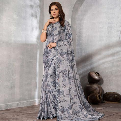 Blissful Grey Colored Partywear Floral Printed Chiffon Saree