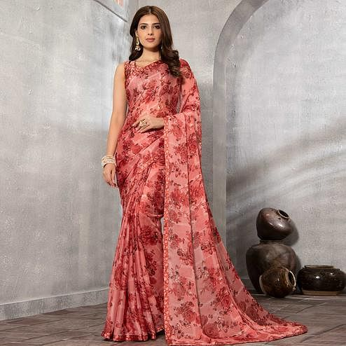 Imposing Peach Colored Partywear Floral Printed Chiffon Saree