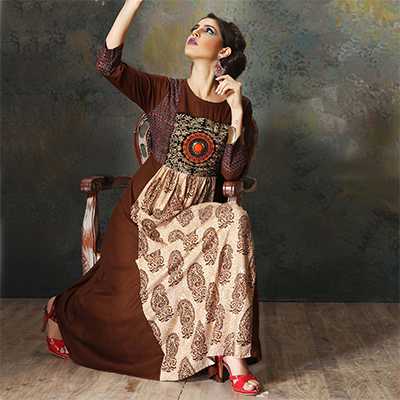 Beautiful Beige-Brown Colored Designer Embroidered Cotton Kurti