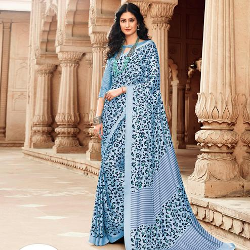 Preferable Blue Colored Partywear Printed Japan Silk Saree
