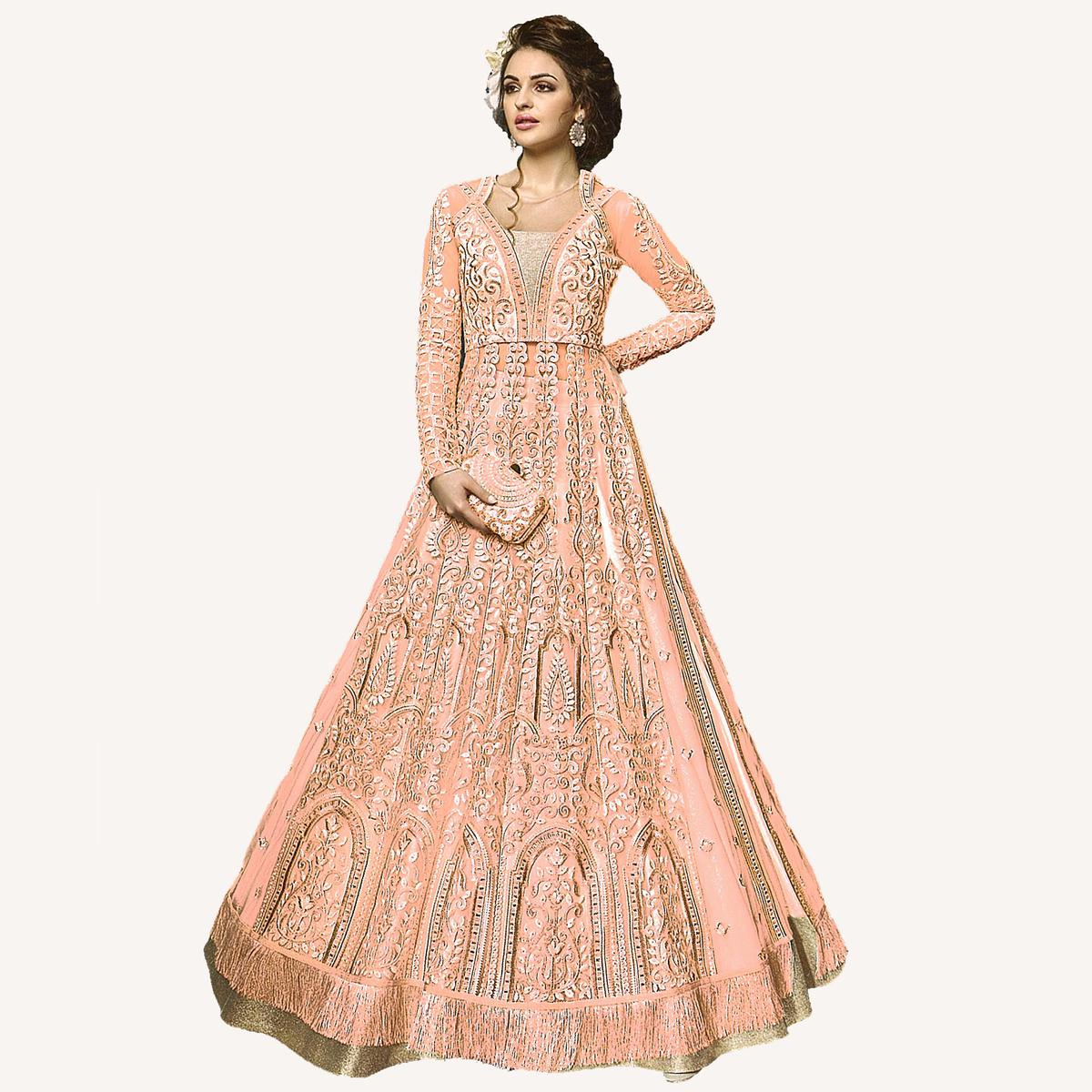 Flamboyant Peach Designer Embroidered Net Lehenga Kameez