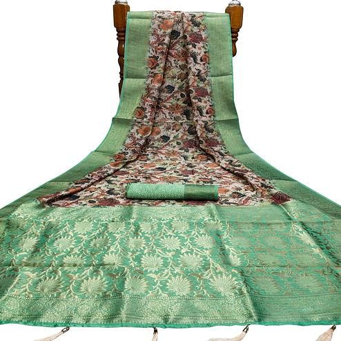 Prominent Beige - Green Colored Festive Wear Digital Printed Silk Saree