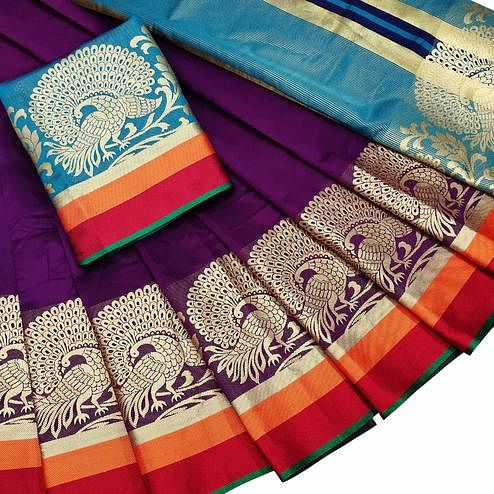 Glowing Purple Colored Festive Wear Woven Silk Saree