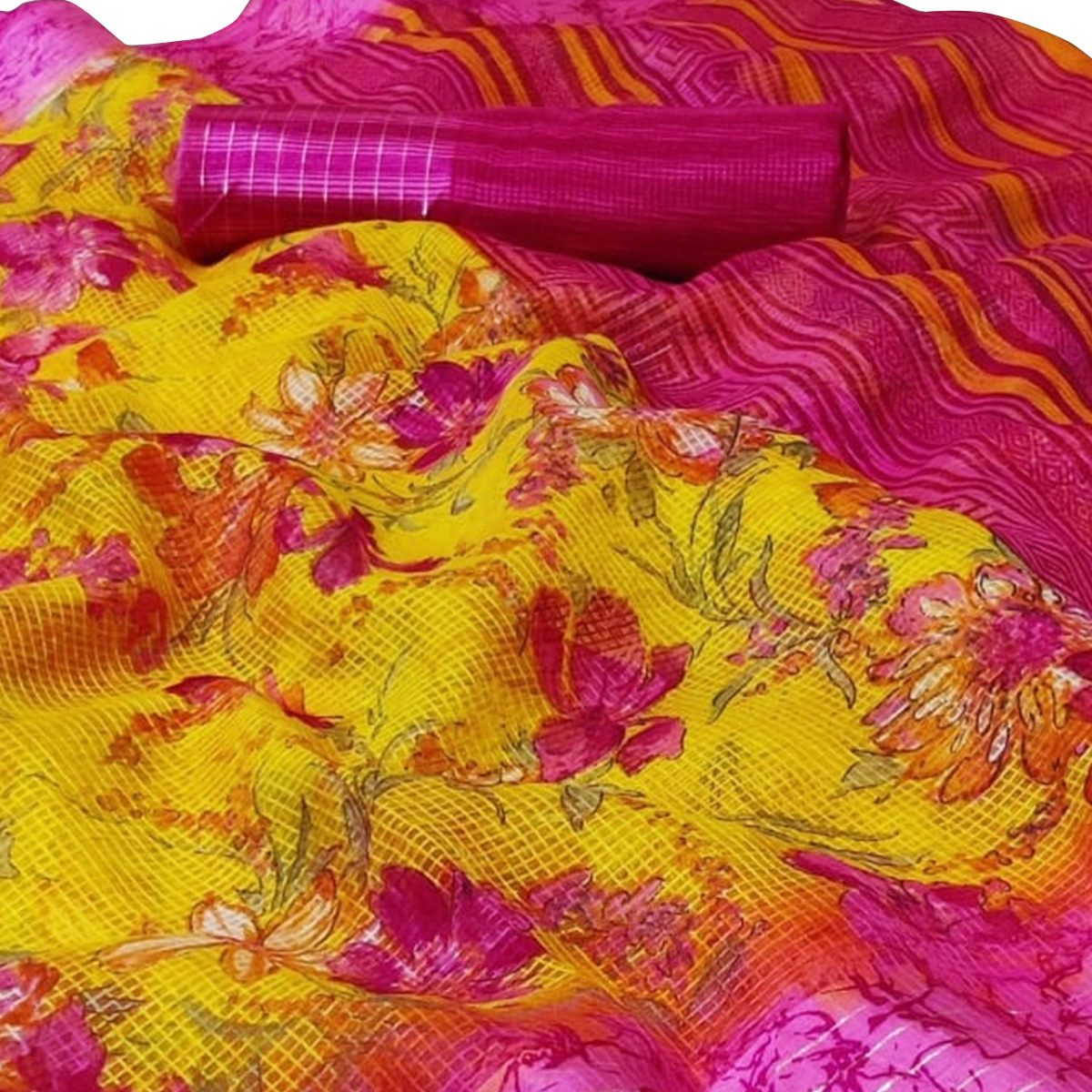 Gleaming Yellow Colored Casual Wear Printed Kota Silk Saree