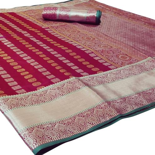 Magnetic Maroon Colored Festive Wear Woven Silk Saree