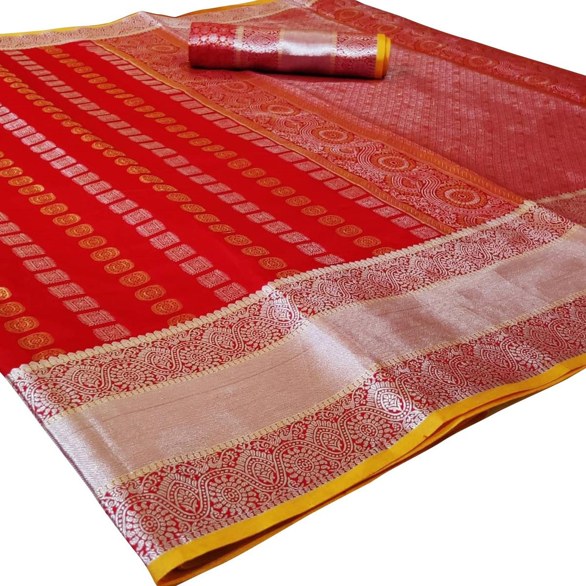 Flattering Red Colored Festive Wear Woven Silk Saree