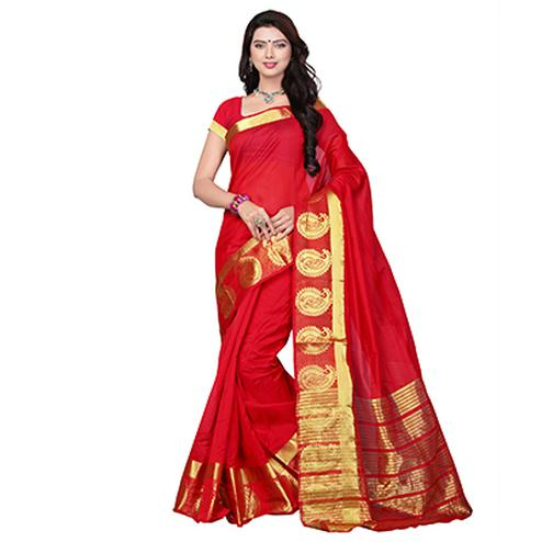 Red Festive Wear Weaving Work Saree