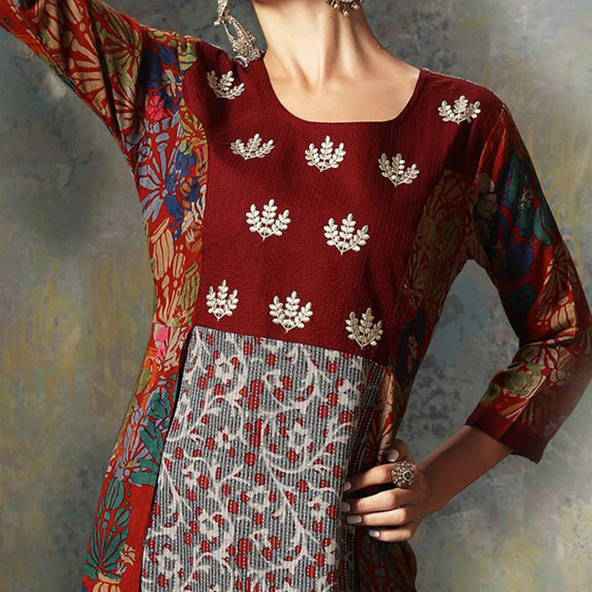 Stylish Multi Colored Designer Embroidered Art Silk Kurti