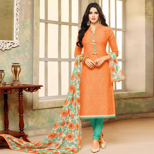 Intricate Orange Colored Casual Wear Printed Chanderi Dress Material
