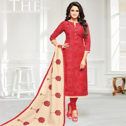 Desirable Red Colored Casual Wear Printed Chanderi Dress Material