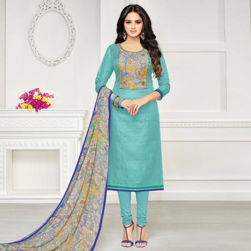 Exotic Turquoise Blue Colored Casual Wear Printed Chanderi Dress Material