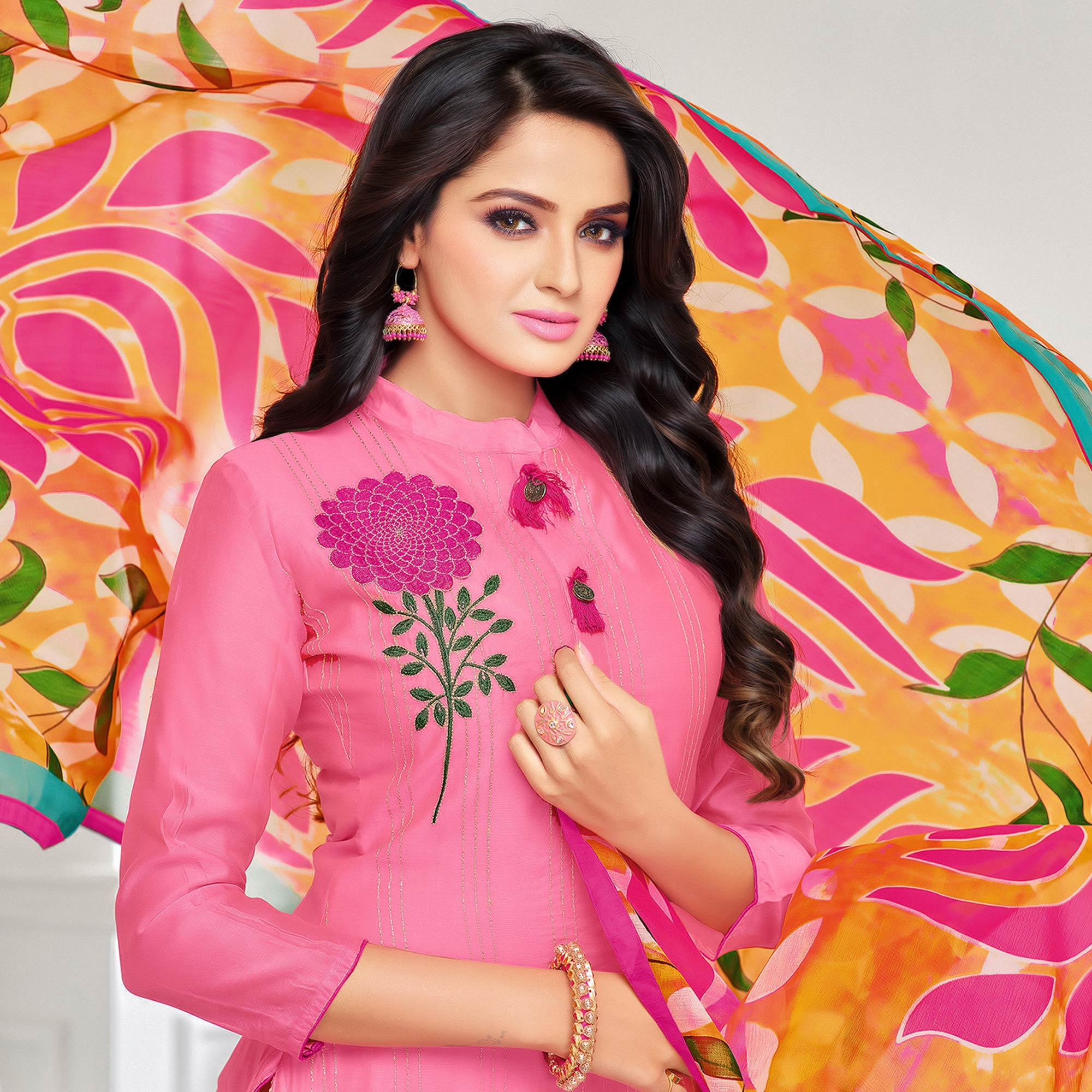 Sophisticated Pink Colored Casual Wear Printed Chanderi Dress Material