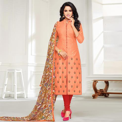 Trendy Peach Colored Casual Wear Printed Chanderi Dress Material