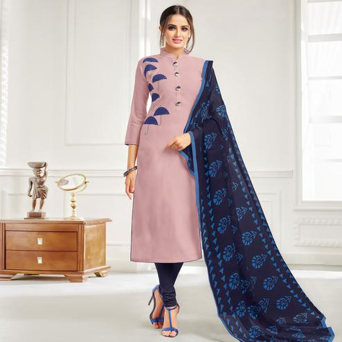 Elegant Light Purple Colored Casual Wear Printed Chanderi Dress Material