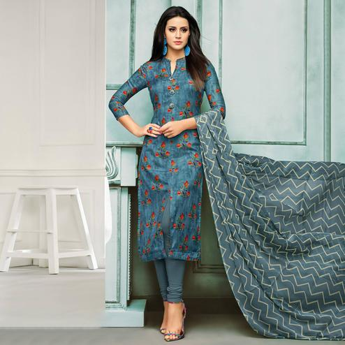 Opulent Blue Colored Casual Wear Printed Chanderi Dress Material