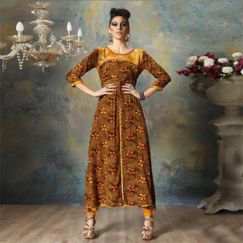 Lovely Brown Colored Designer Embroidered Cotton Kurti
