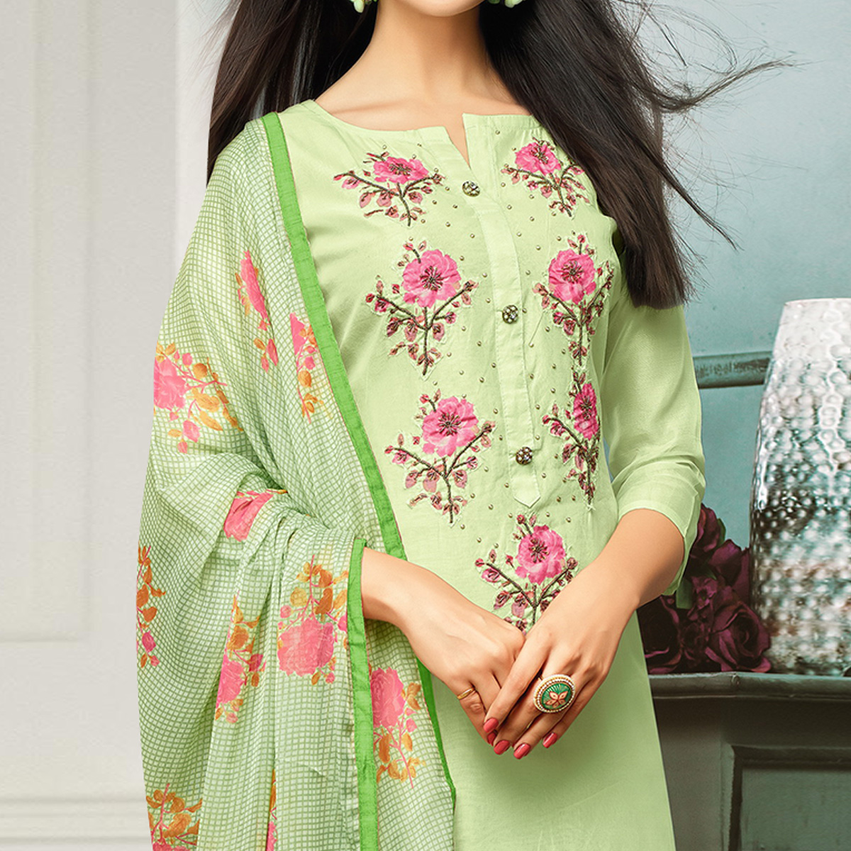 Glowing Pista Green Colored Casual Wear Printed Chanderi Dress Material