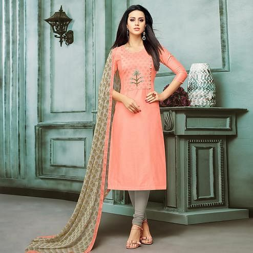 Exceptional Peach Colored Casual Wear Printed Chanderi Dress Material