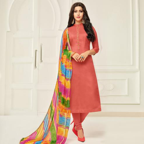 Refreshing Dark Peach Colored Casual Wear Printed Chanderi Dress Material
