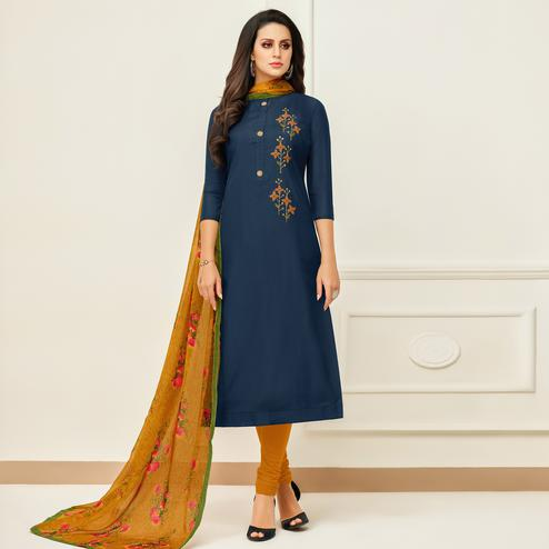 Hypnotic Navy Blue Colored Casual Wear Printed Chanderi Dress Material