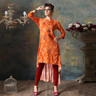 Charming Orange Colored Designer Embroidered Cotton Kurti
