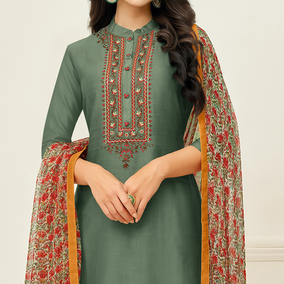 Flattering Olive Green Colored Casual Wear Printed Chanderi Dress Material