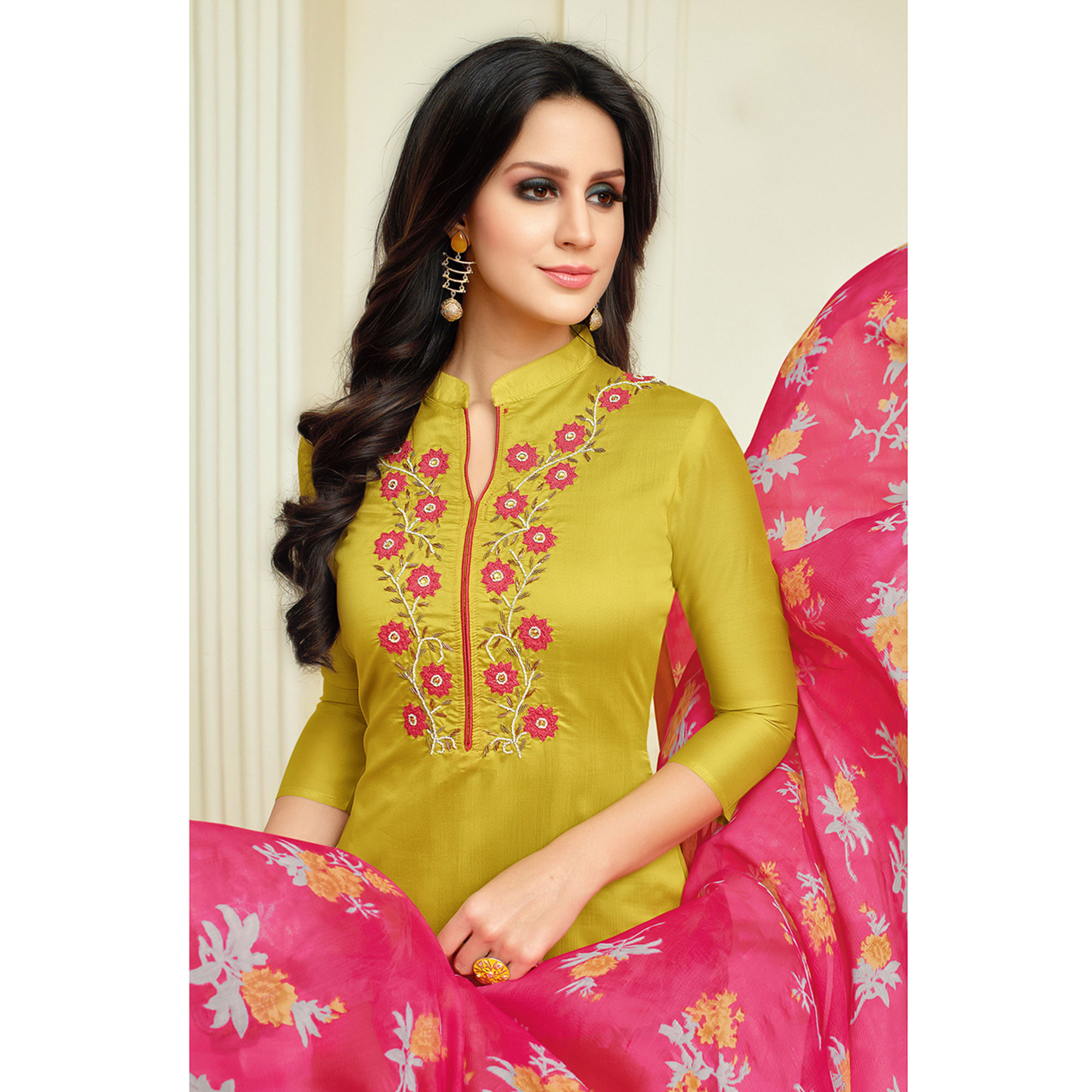Excellent Lemon Green Colored Casual Wear Printed Chanderi Dress Material