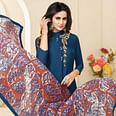 Marvellous Teal Blue Colored Casual Wear Printed Chanderi Dress Material