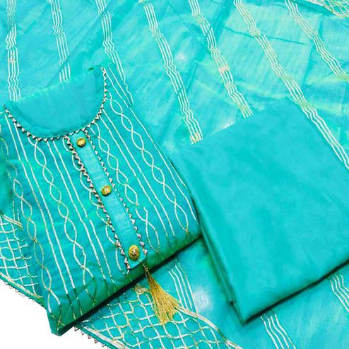 IRIS - Sky Blue Colored Partywear Embroidered Cotton Dress Material