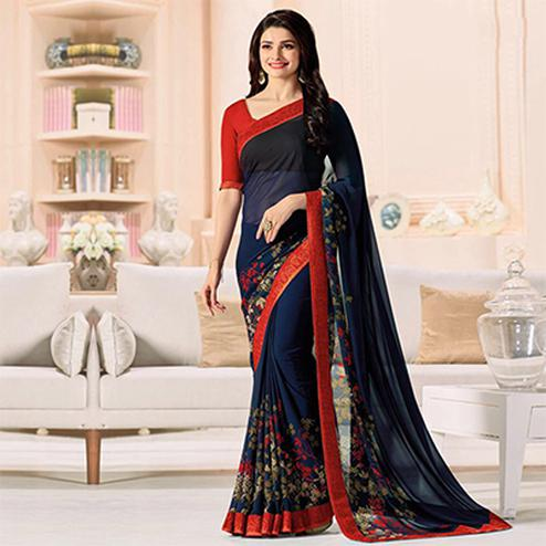 Mesmerising Navy Blue-Red Designer Printed Georgette Saree