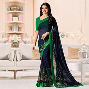 Dazzling Navy Blue-Green Designer Printed Georgette Saree